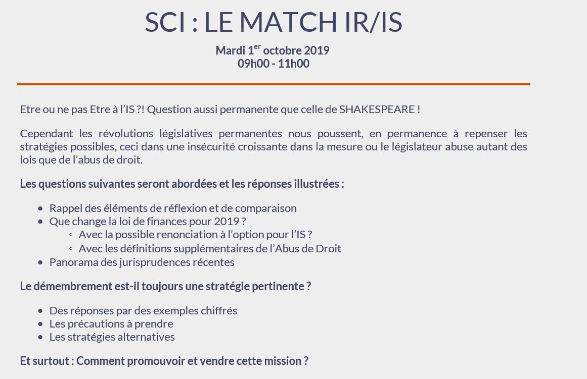SCI : Le match IS / IR le 1er octobre 2019 – 9h-11h au Carré Marne